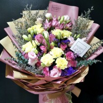 lisianthus pink with carnation yellow